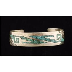 Early Sterling Silver Tommy Singer Inlay Cuff