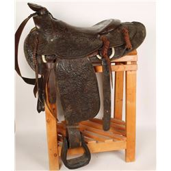 Heiser Brown Leather Floral Tooled Saddle