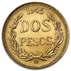 1945 Mexico Gold 2 Pesos AGW .0482