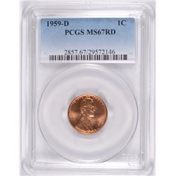 1959-D LINCOLN CENT PCGS MS-67 RED