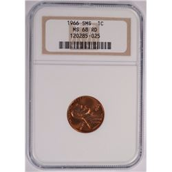 1966 SMS LINCOLN CENT NGC MS-68 RD