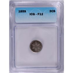 1859 3 CENT SILVER ICG F-12