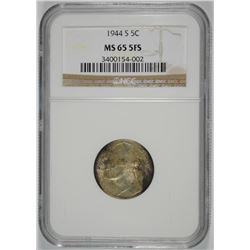1944-S SILVER JEFFERSON NICKEL, NGC MS-65  5 FULL STEPS