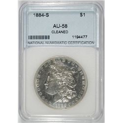 1884-S MORGAN SILVER DOLLAR, NNC GRADED AU/UNC. CLEANED