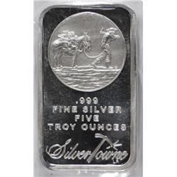 FIVE TROY OUNCE .999 SILVER BAR ( SILVERTOWNE )  GREAT GIFT SIZE