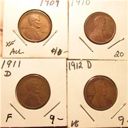 1909P EF-AU, 10P Brown Unc, 11D Fine, & 12D VG  Lincoln Cents. Red Book Value $42.00.