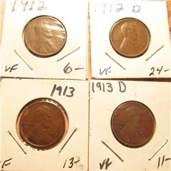 1912P VF, 12D VF, 13P EF, & 14P VF Lincoln Cents. Red Book Value $58.50.