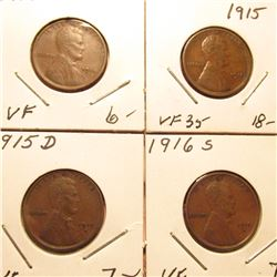 1914P VF, 15P VF, 15D VF, & 16S VF Lincoln Cents. Red Book Value $39.00