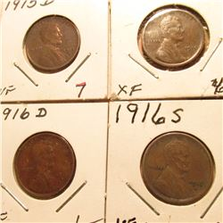 1915D VF, 16P EF, 16D VF, & 16S  Lincoln Cents. Red Book Value $29.00.