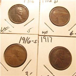 1916P VF, 16D VF, 16S G, & 17P VF Lincoln Cents. Red Book Value $16.00.