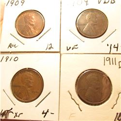 1909P AU, 1909P VDB VF, 1910P EF, & 1911D Fine Lincoln Cents. Book value $40.00.