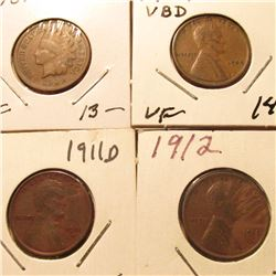 1909 P Indian Cent Fine; 1909P VDB VF, 11D VF, & 12P VF Lincoln Cents. Book value $48.00.