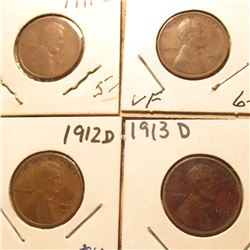 1911D Good, 12P VF, 12D Fine, & 13D VF Lincoln Cents. Book value $32.00.