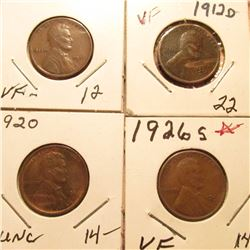 1911D VF, 12D VF, 20P Red-Brown Unc, & 26S VF Lincoln Cents. Book value $62.00.