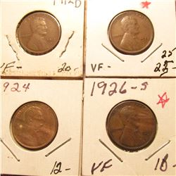 1912D VF, 22D VF, 24P Red-Brown Unc, & 26S VF Lincoln Cents. Book value $73.00.