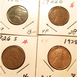 1912D F, 22D VF, 26S VF, & 28P AU Lincoln Cents. Book value $65.00.