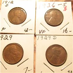 1912D F, 26S VF, 29P Red-Brown Unc, & 29D Brown Unc Lincoln Cents. Book value $55.00.