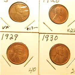 1926S VF, 28P, 29P, & 30P All Red-Brown Unc Lincoln Cents. Book value $104.00.