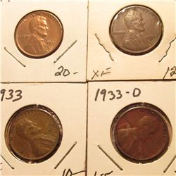 1931P Red Unc, 31D EF, 33P EF, & 33D VF Lincoln Cents. Book value $49.00.