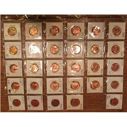 "(29) 1954-55S Lincoln Cents. All Red Unc to Gem BU.  Priced in 1 1/2"" x 1 1/2"" flips and plastic pag"