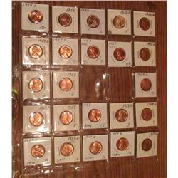 "(23) 1954S-59D Lincoln Cents. All Red Unc to Gem BU.  Priced in 1 1/2"" x 1 1/2"" flips and plastic pa"