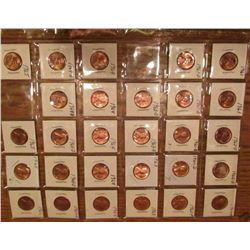 "(28) 1961-65 Lincoln Cents. All Red Unc to Gem BU.  Priced in 1 1/2"" x 1 1/2"" flips and plastic page"