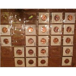 "(21) 1966-71 Lincoln Cents. All Red Unc to Gem BU.  Priced in 1 1/2"" x 1 1/2"" flips and plastic page"