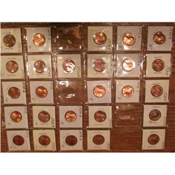 "(26) 1973D-75 Lincoln Cents. All Red Unc to Gem BU.  Priced in 1 1/2"" x 1 1/2"" flips and plastic pag"