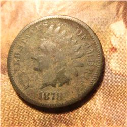 1878 Indian Head Cent. Good. Mostly likely a metal detector find. Toned green and tan. Red book valu