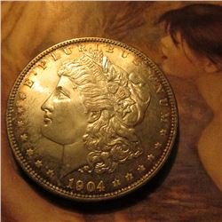 1904 O Morgan Dollar lightly toned Uncirculated.