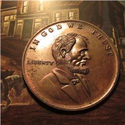 "Large Bronze Medal ""Abraham Lincoln Home Springfield Illinois"", ""In God We Trust/Liberty"", portrait"