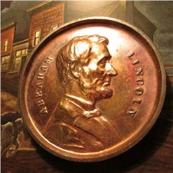 """Abraham Lincoln"" Large Souvenir Penny ""Souvenir of Health Wealth Happiness"" 2 3/4""."