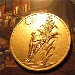 The State Where the Tall Corn Grows/A/Souvenir/From/Iowa , large, heavy medal. 2 3/8 .