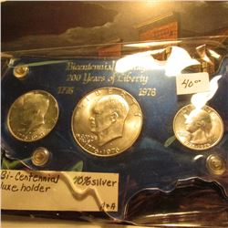 """Bicentennial Coinage 200 Years of Liberty 1776 1976"" blue Capital style holder with gold-lettering"