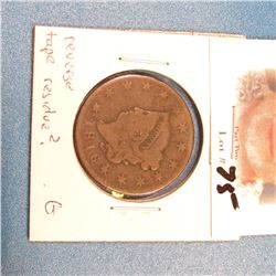 1816 U.S. Large Cent. Good, reverse tape residue?