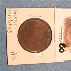 1820 U.S. Large Cent. AG. Reverse scratches.