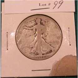 1918 D Walking Liberty Half Dollar. Good.