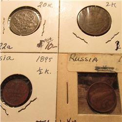 (4) Early Russian Coins dating 1852-1916, one is Silver. Book value $20-30.