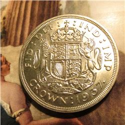 1937 Great Britain King George VI Silver Crown. KM857. BU. KM Value $65.00.