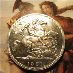 1951 Great Britain King George VI Silver Crown. St. George slaying the Dragon. KM880. Prooflike. KM