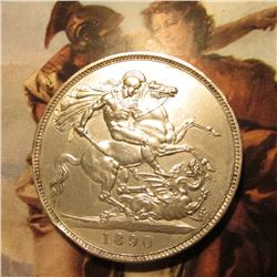 1890 Great Britain Queen Victoria Silver Crown. St. George slaying the Dragon. KM765. EF. Rim ding.