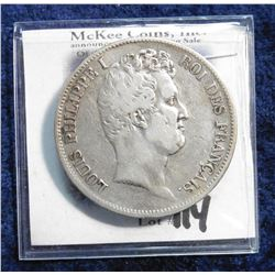1831W France Five Francs. .900 fine Silver. KM735.13. VF. KM value $55.00.