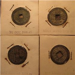 (4) Early Chinese Copper coins with square holes. Includes Tu Duc 1848-83, Dong Khanh 1885-88, Gia L
