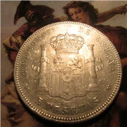 1898 Spain Five Pesetas. .900 Fine Silver. VF. KM707.