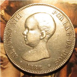 1888 (88) MP-M Spain Five Pesetas. .900 Fine Silver. KM689. VF.