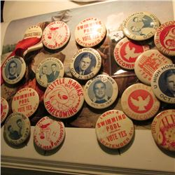 Large group of Iowa City Pinbacks 1933-1956 era. Mostly Home Comings. (20 pcs.)