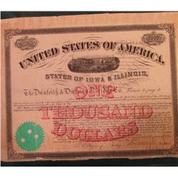 "$1000 Bond with ten coupons attached ""United States of America States of Iowa & Illinois The Dunleit"