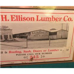 """O.H. Ellison Lumber Co. If it is Roofing, Sash, Doors, or Lumber Please Call our Number 245"" Calend"