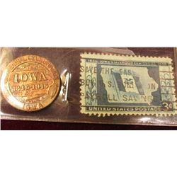 1846-1946 Iowa Centennial Brass Medal & a cancelled 1846-1946 Iowa .03c Statehood Centennial Stamp.
