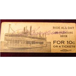 "Original ""Rock-Island Davenport Ferry Co…."" Ticket. (Good until used, for One Fare), ""Ride all Day o"